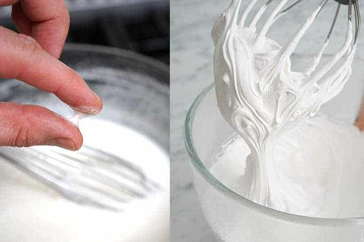 two photos showing Swiss meringue being made