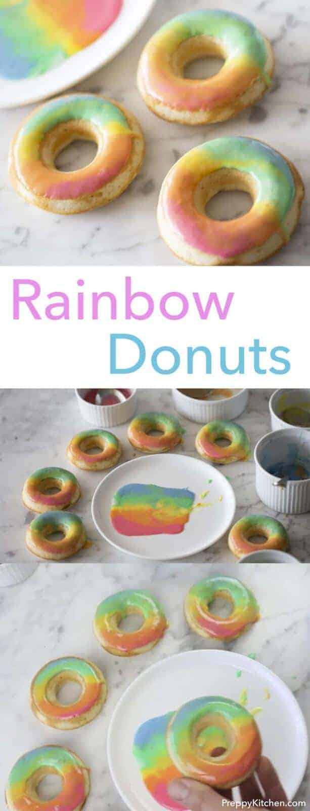 Delicious baked vanilla donuts with a beautiful rainbow effect. Click over for recipe and video.