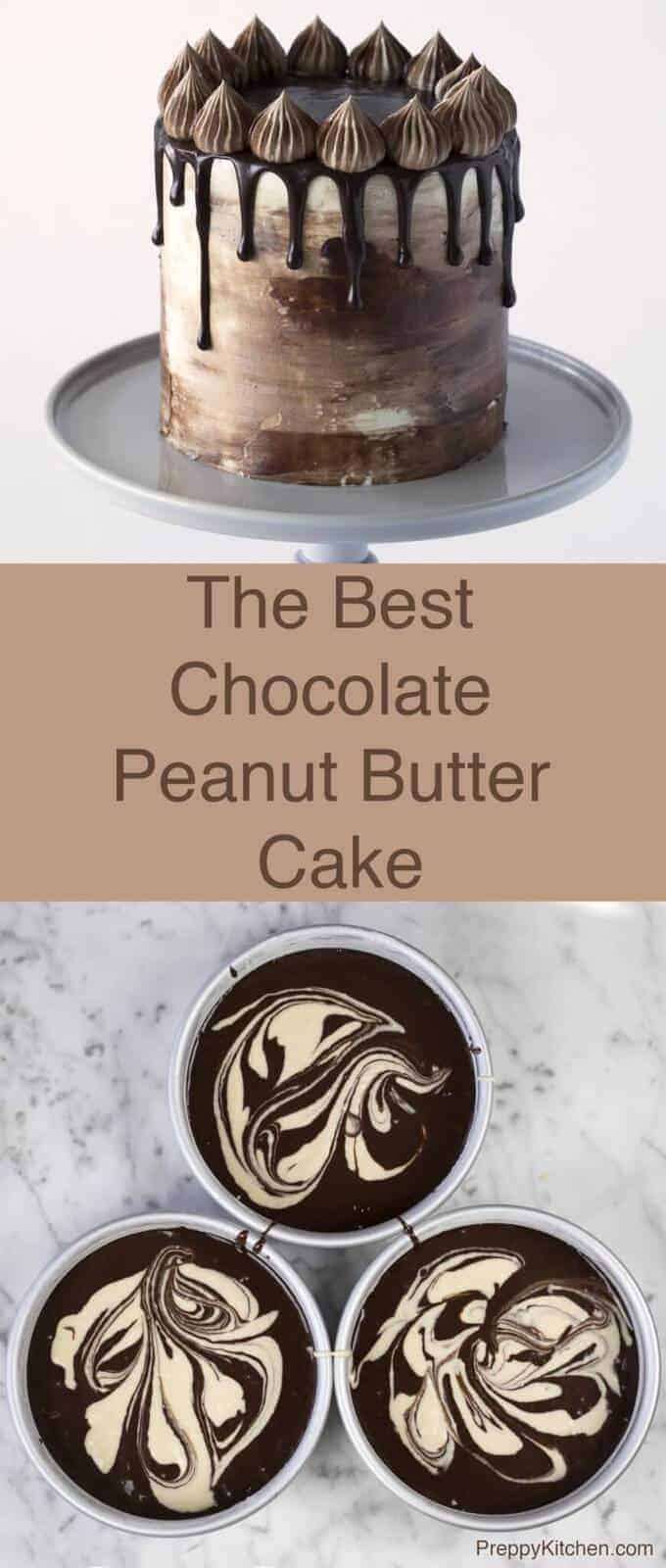 A super-rich chocolate cake, with swirls of peanut butter batter covered in peanut butter frosting then finished off with Italian buttercream and more chocolate