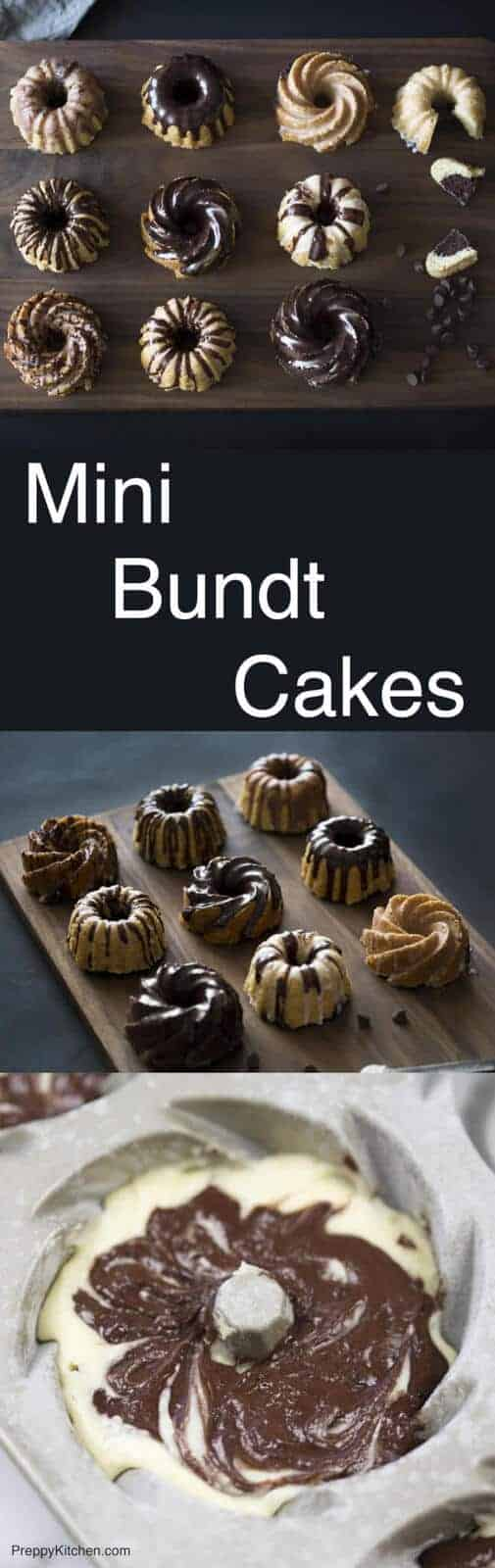 Marbleized chocolate and vanilla mini-bundt cakes decorated with white and dark chocolate ganache. Click over for full recipe and video.