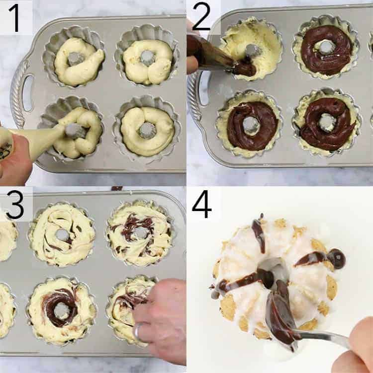 A photo grid showing the steps to make mini bundt cakes