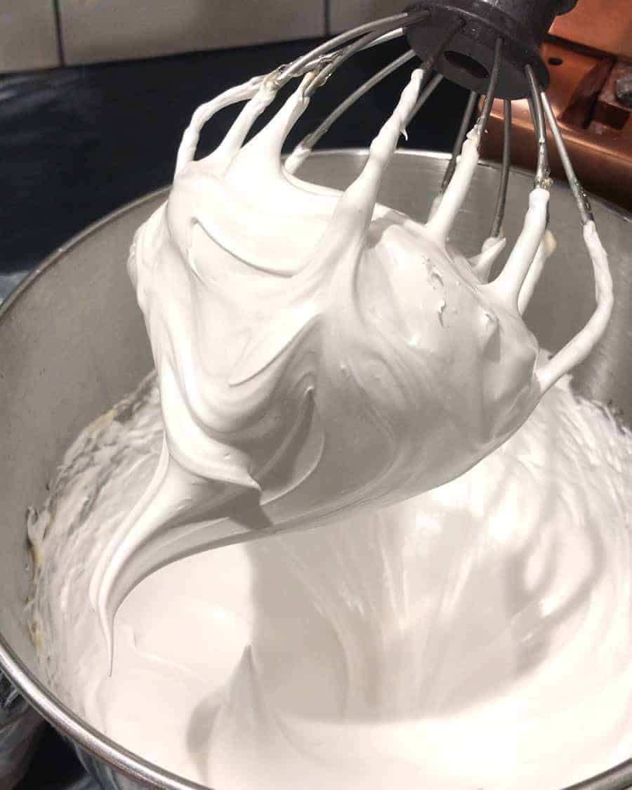 Close-up photo of Italian meringue before butter is added