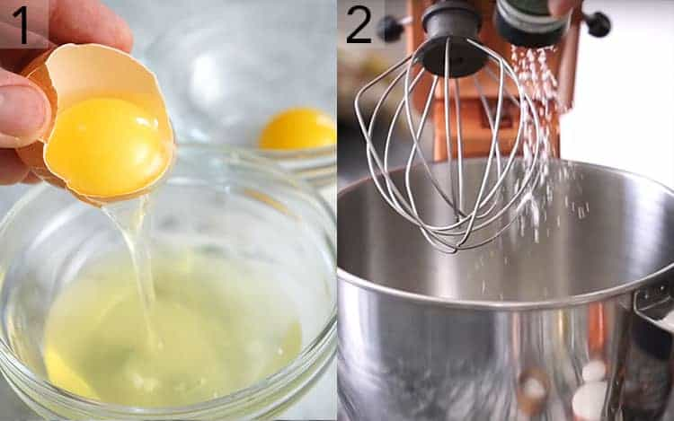 Two photos showing eggs bing separated and cream or tartar getting sprinkled into a mixing bowl.