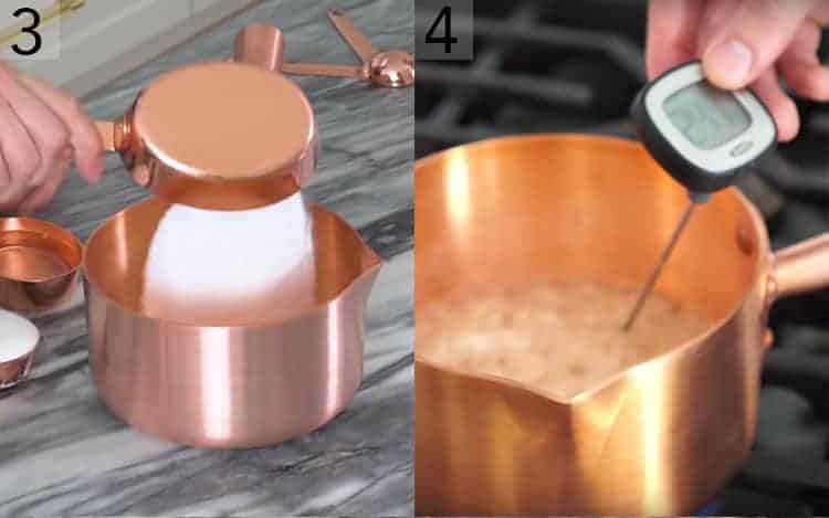 Two photos showing sugar poured into a copper pot and then bubbling on the stove.