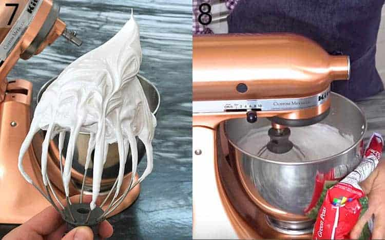Two photos showing meringue on a whisk a mixer packed in peas running..