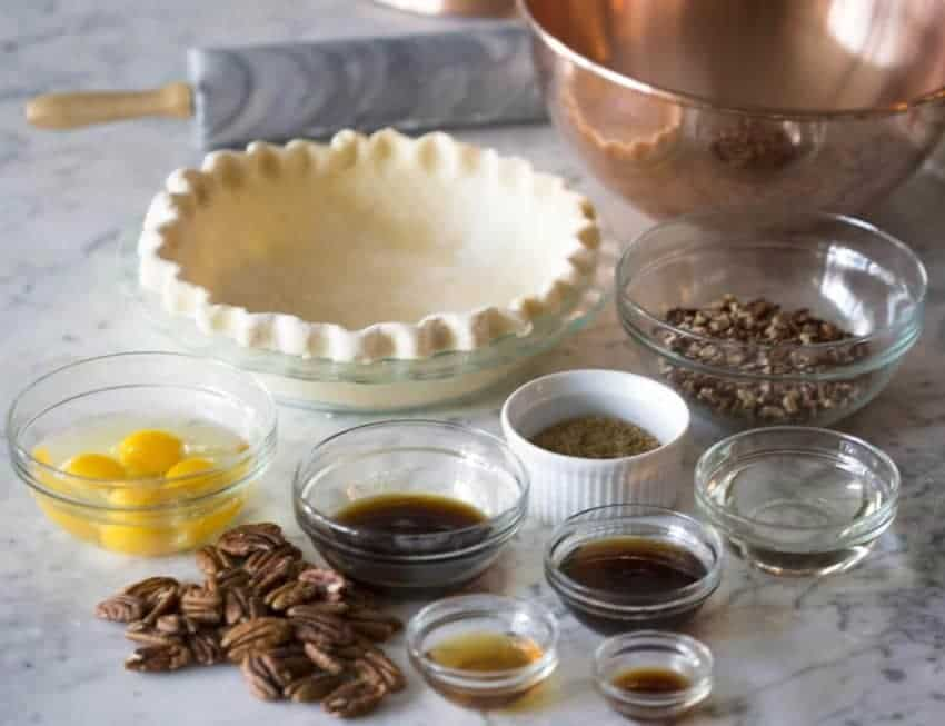 photo showing ingredients needed for a pecan pie