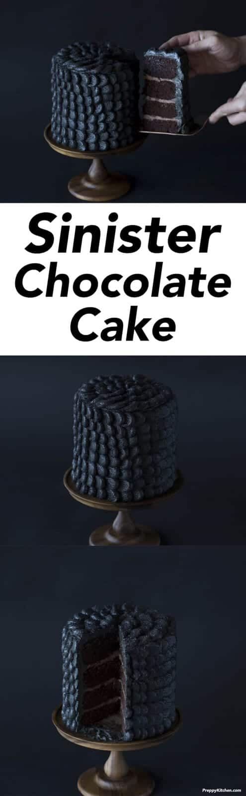 Sinfully delicious or pure evil?? This chocolate cake is coated in delicious black scales giving it a nefarious look that's perfect for Halloween! Click over for full recipe and video.