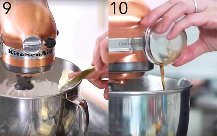 Two photos showing butter being addedto a mixer and vanilla getting poured in.