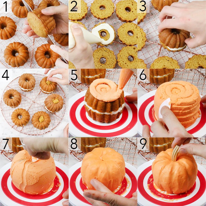 A photo collage showing the steps to make Mini Cakes that look like pumpkins