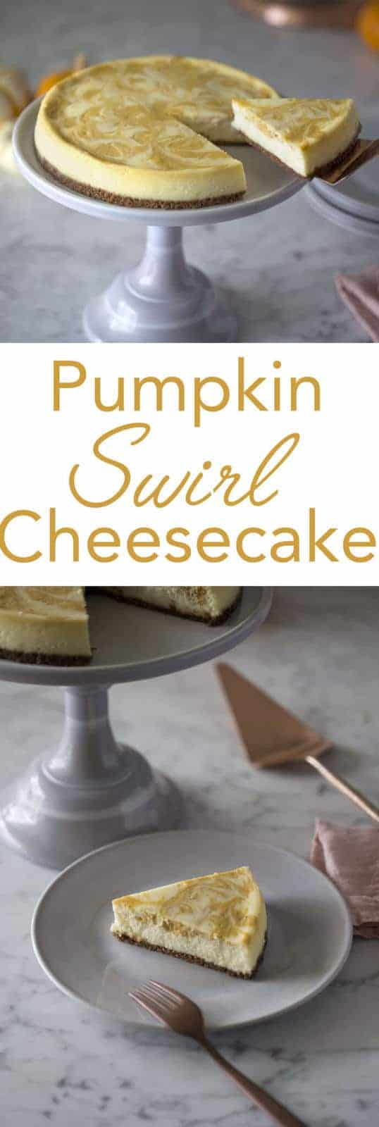 This cheesecake has a spiced to the crust and a great pumpkin swirl. Full recipe on preppykitchen.com