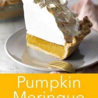 piece of pumpkin meringue pie on a plate