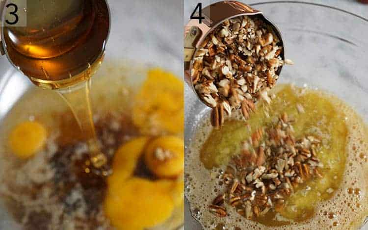 Two photos showing pecan pie filling getting mixed in a glass bowl and chopped pecans getting poured in.