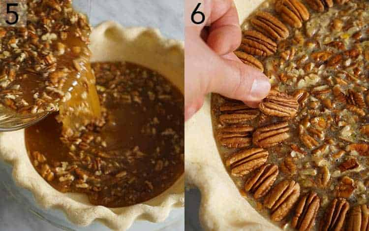 Two photos showing pecan pie filling getting poured into a pie shell then topped with pecan halves.
