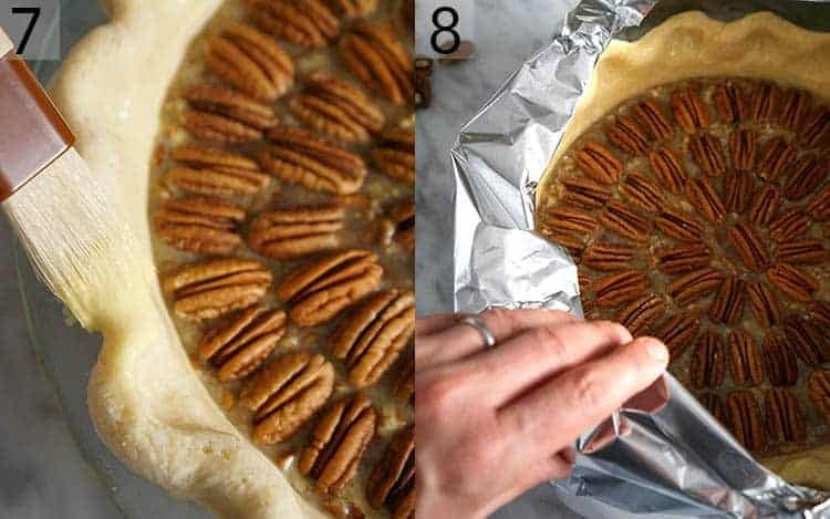 Two photos showing pecan pie being brushed with an egg wash then tented with foil before baking
