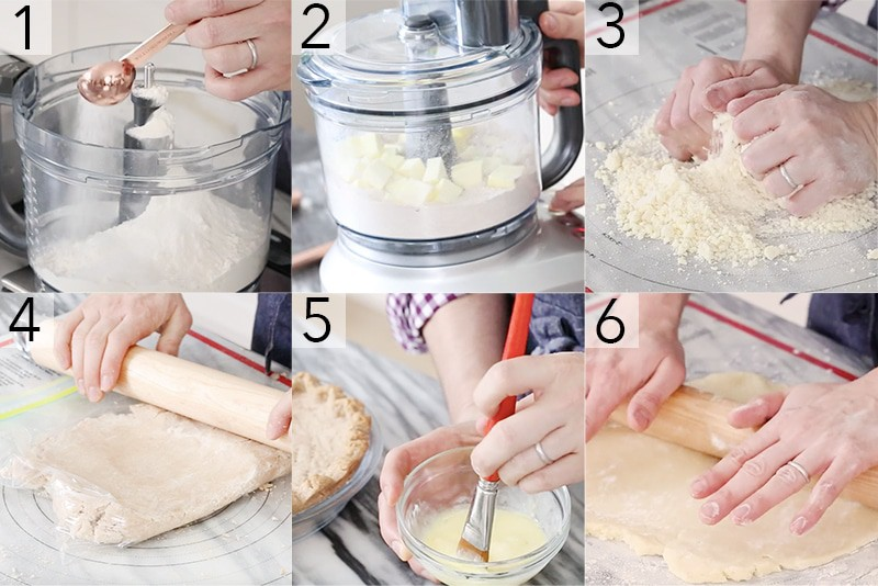 A photo showing steps on how to make pie crust.
