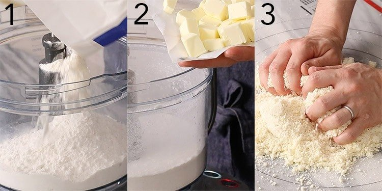 A photo collage showing the steps to make pie crust in a food processor