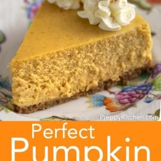 piece of pumpkin cheesecake on a floral plate