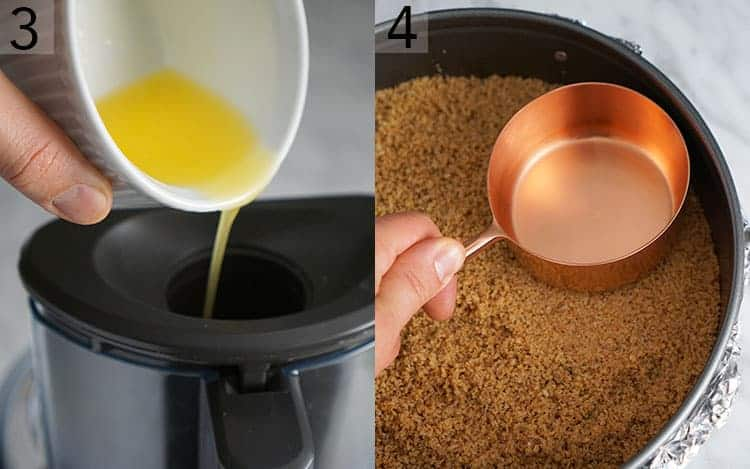 Two photos showing butter getting poured ont a processor and a crust being patted down with a measuring cup
