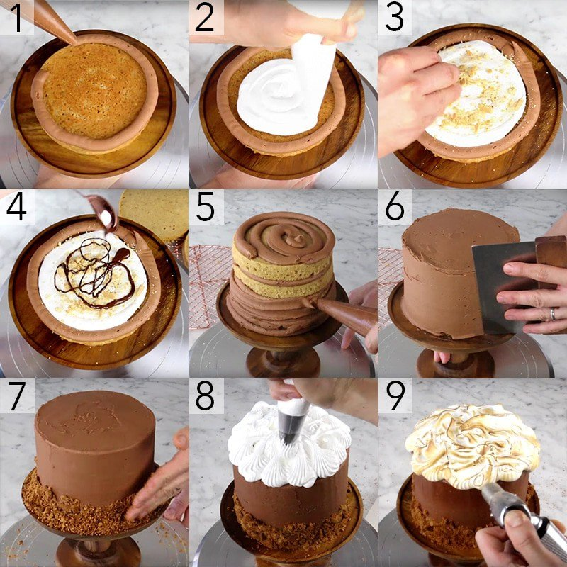 A photo showing steps on how to make a s'mores cake