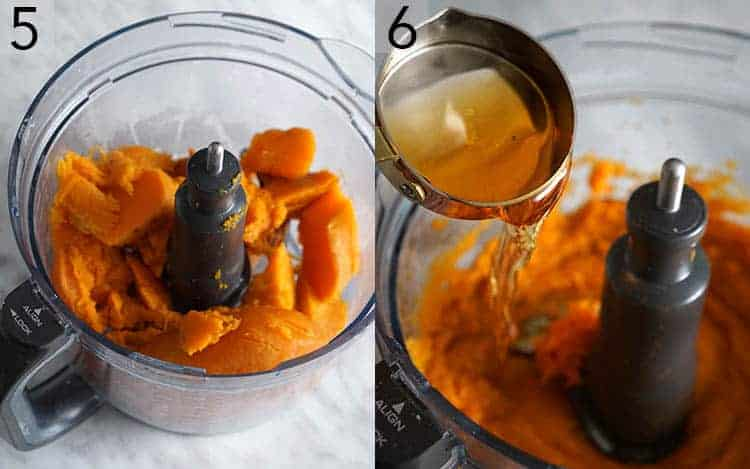 Two photos showing sweet potatoes in a food processor and pie filling getting made.