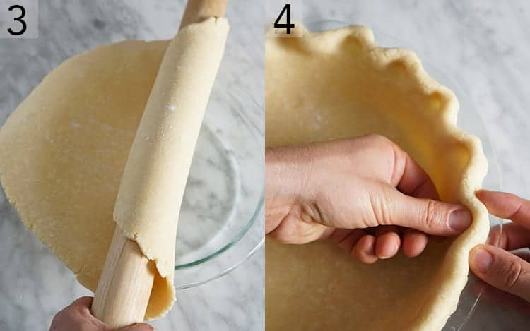 Two photos showing pie dough being rolled into a dish then pressed into place