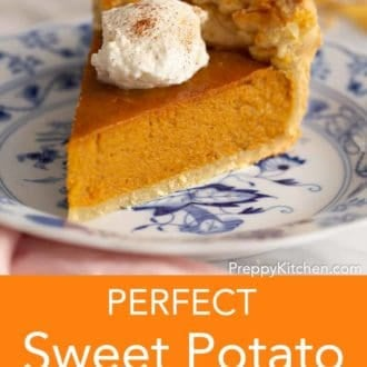 piece of sweet potato pie on a plate