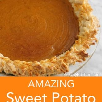 sweet potato pie in a glass pie dish