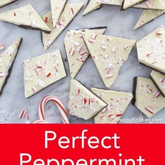 stack of peppermint bark on counter