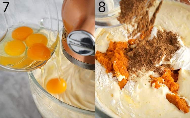 eggs and spices being added to pumpkin cheesecake batter