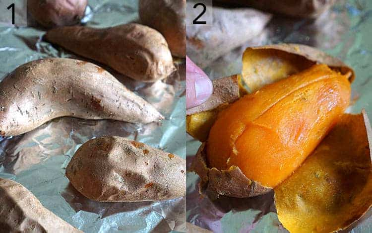 Two photos showing Sweet potatoes getting baked and peeled