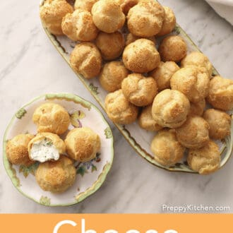 A top-down shot of some cheese puffs.