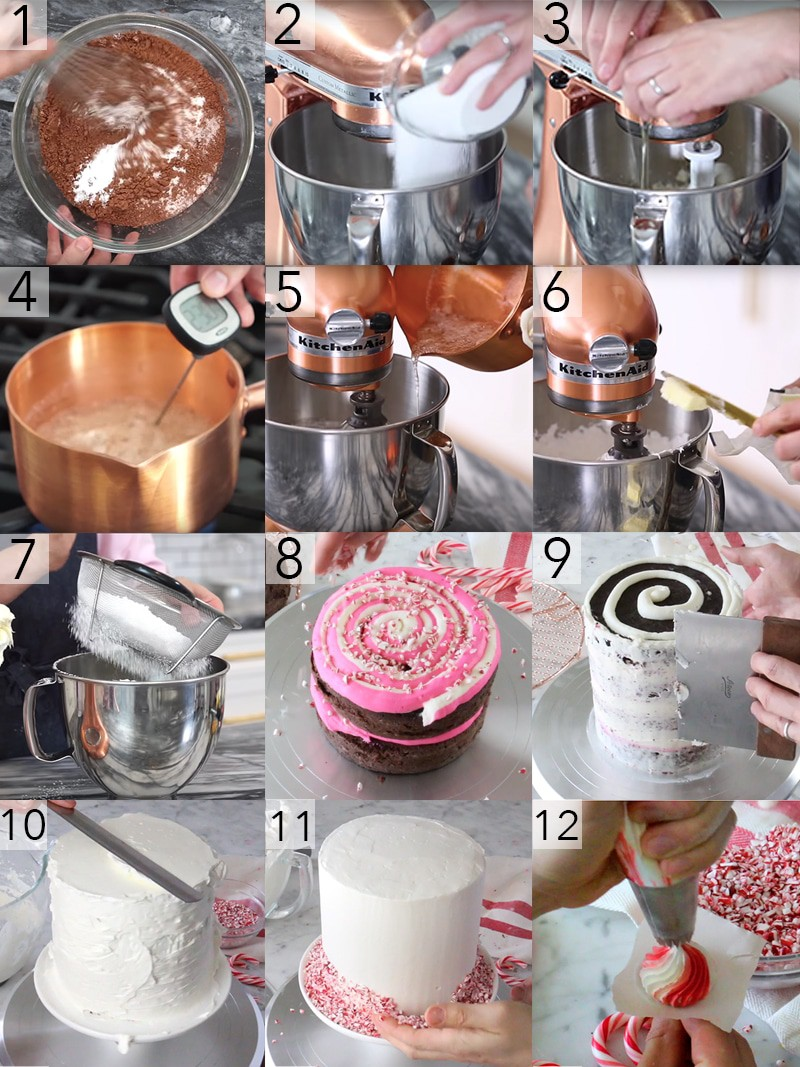 A photo grid showing the steps to make a chocolate peppermint cake