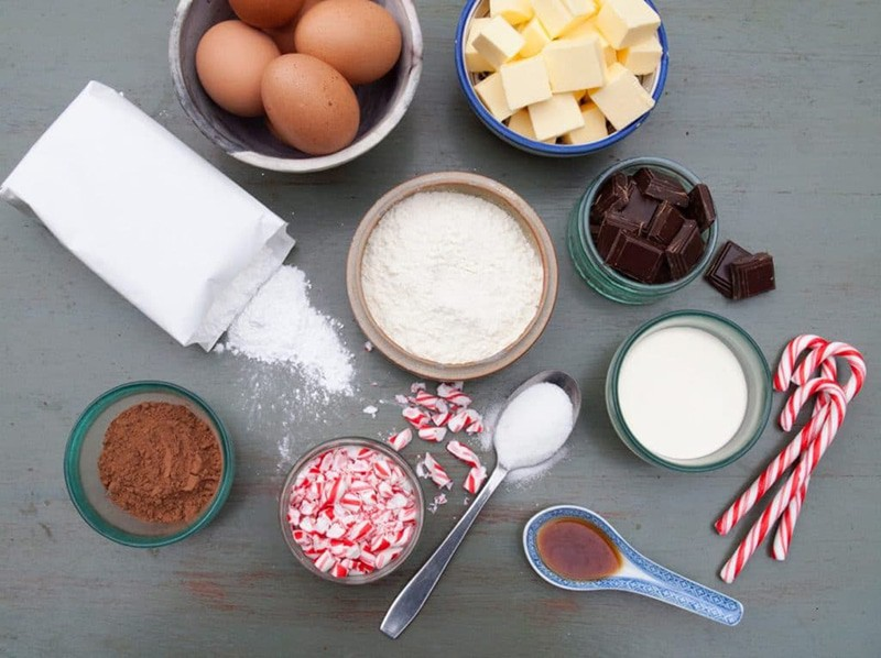 A photo showing ingredients to make a chocolate peppermint roll.