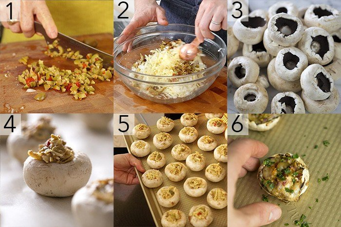 A photo grid showing the steps to make stuffed mushrooms