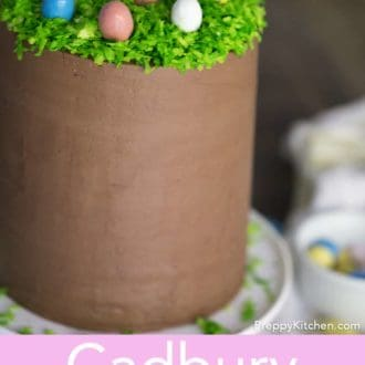 tall easter cake on cake stand