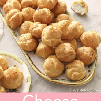 A group of cheese puffs on a serving tray.