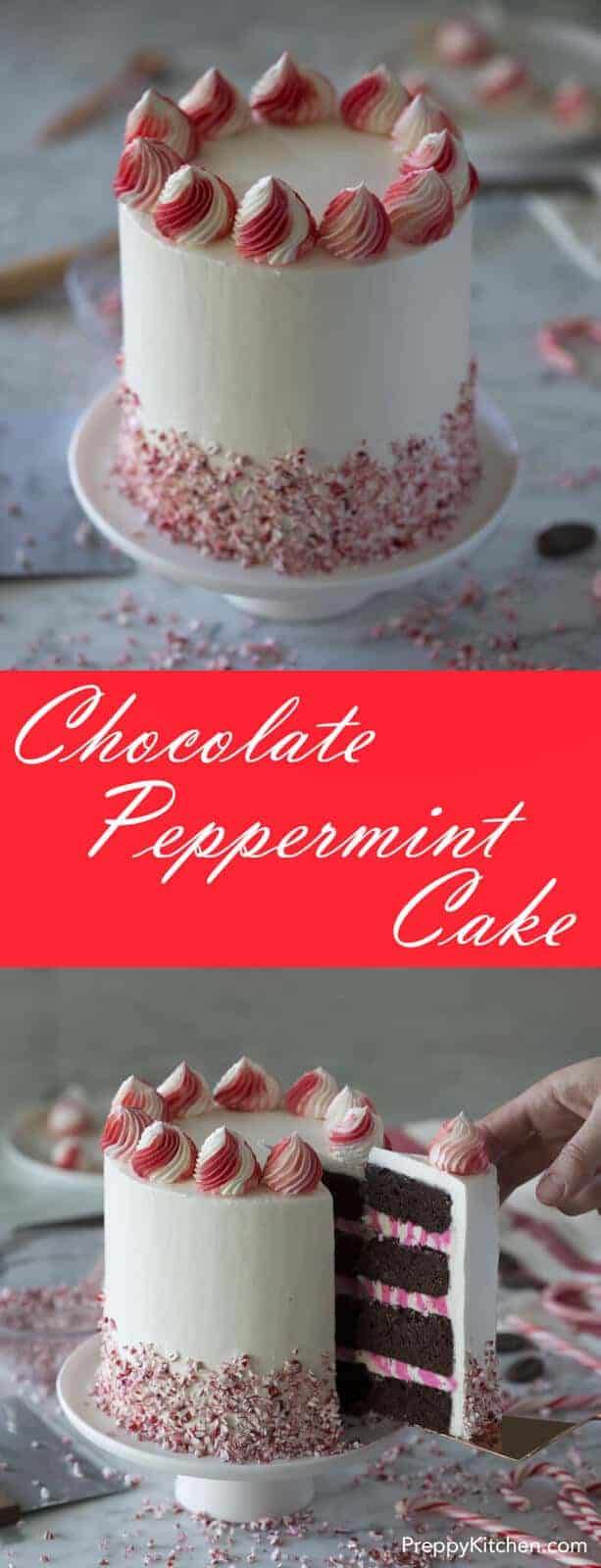 A rich chocolate peppermint cake with a kiss of peppermint, a white chocolate peppermint buttercream filling, crushed peppermint and a silky Italian buttercream all over.