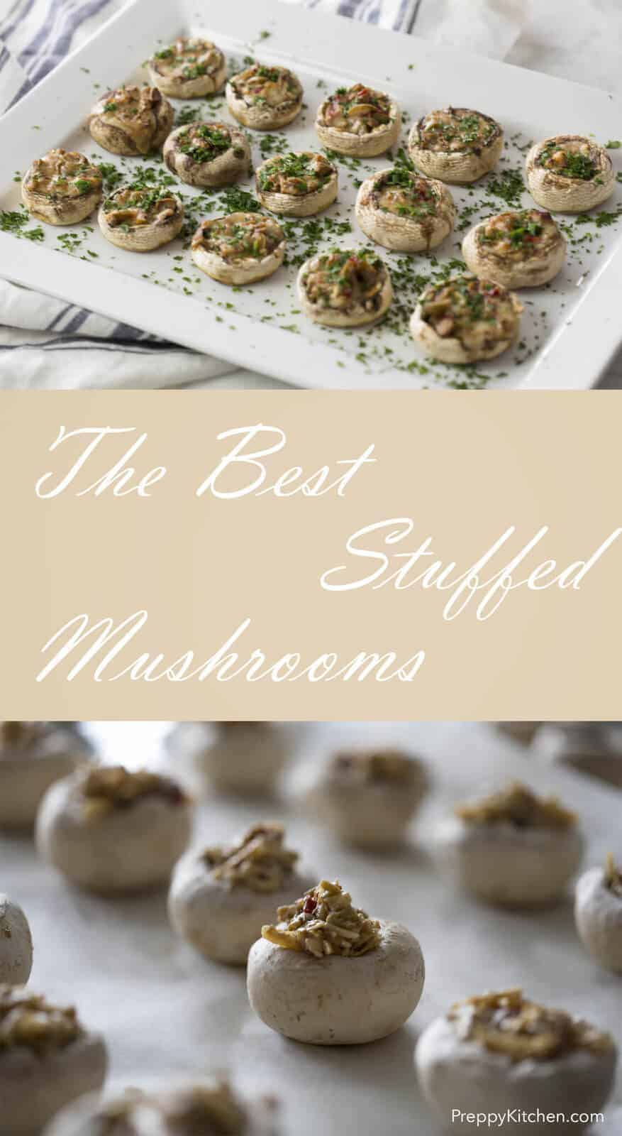 A classic appetizer you can whip up in a few minutes. These mushroom caps are filled olives, gruyere, Worcestershire and topped with parsley.