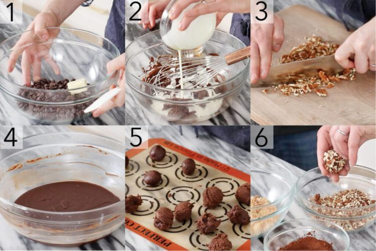 A photo showing steps on how to make brandied chocolate truffles.