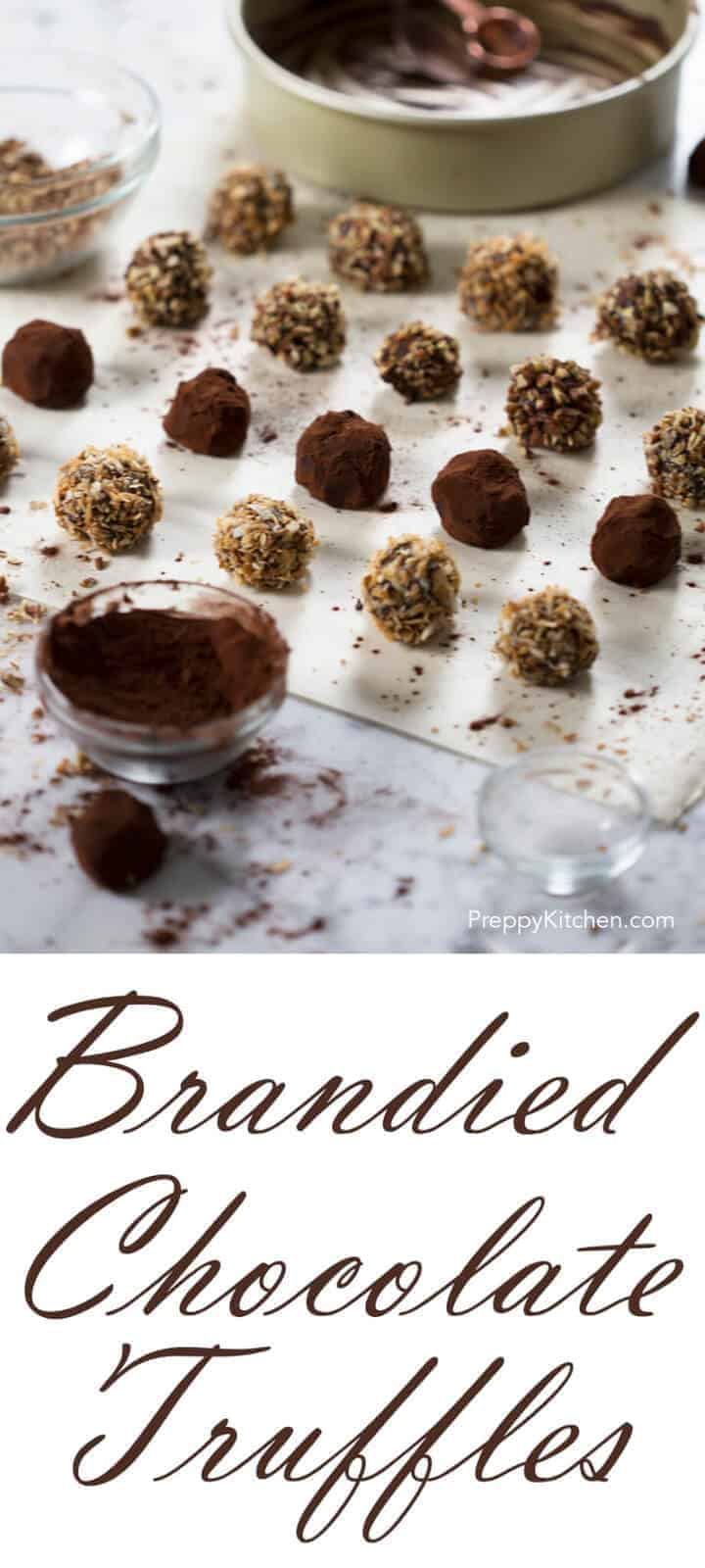 Delicious no bake chocolate truffles with a hint of brandy, rolled in toasted coconut, Cocoa powder and toasted pecans.