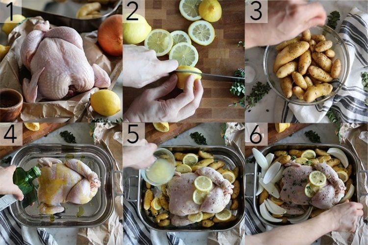 A photo showing steps on how to make Greek lemon chicken.