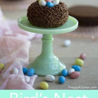birds nest easter cake on a cake stand