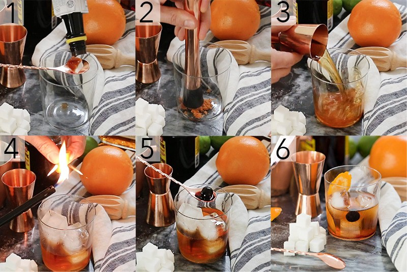 A photo showing steps on how to make an old fashioned cocktail.