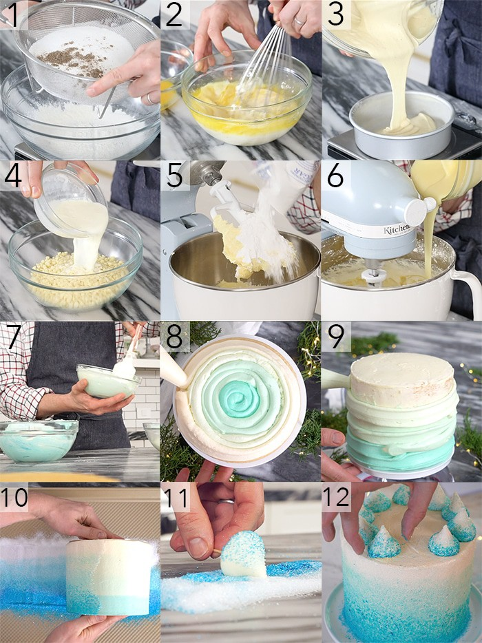 A photo grid showing the steps to make a blue ombre cake