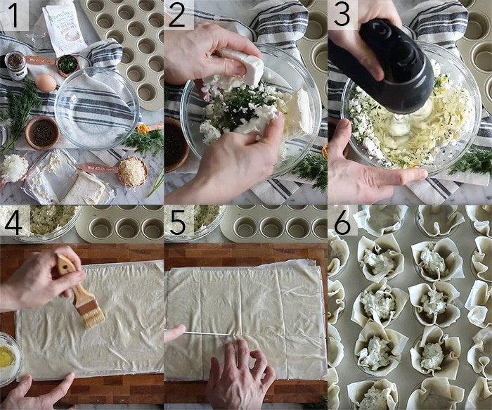 A photo grid showing the steps to make filo cups