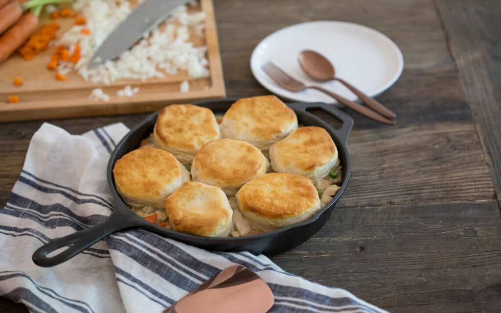 Easy Skillet Pot Pie in a cast iron skillet.