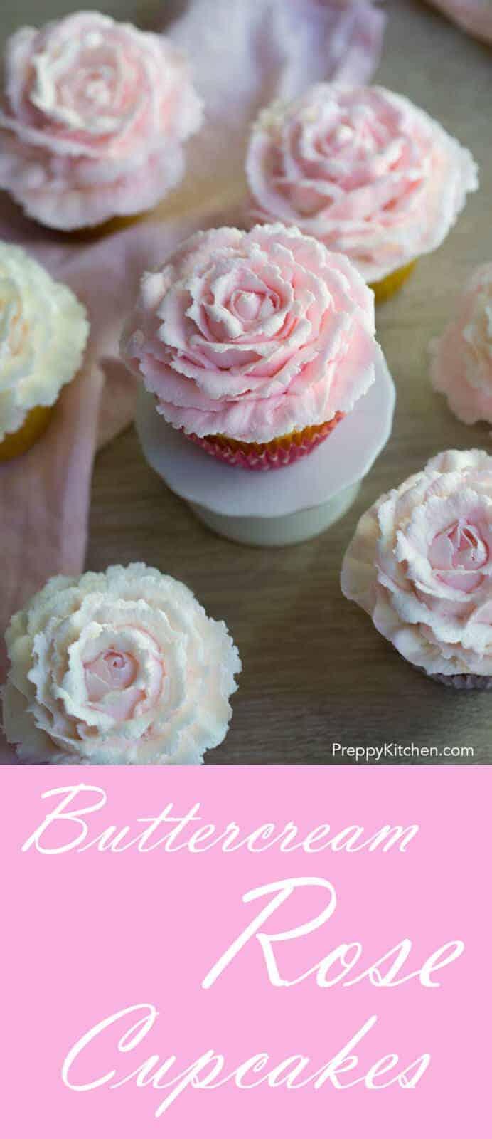 Beautiful buttercream roses top a moist vanilla cupcake.
