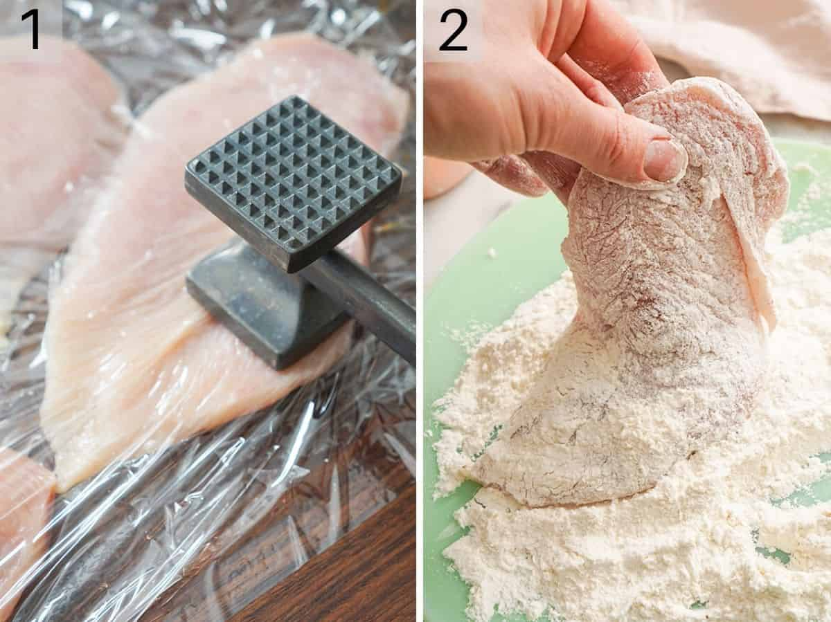 Two photos showing how to tenderize and dredge chicken