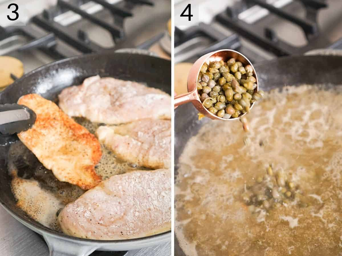 Two photos showing how to brown chicken and make a sauce