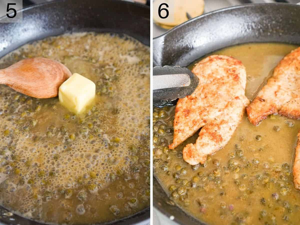 Two photos showing how to finish making Chicken Piccata
